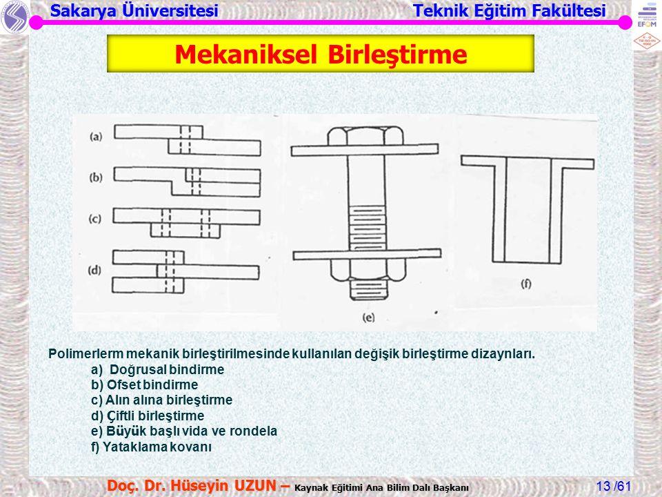 Sakarya Üniversitesi Teknik Eğitim Fakültesi /61 Doç. Dr. Hüseyin UZUN – Kaynak Eğitimi Ana Bilim Dalı Başkanı 13 Polimerlerm mekanik birleştirilmesin