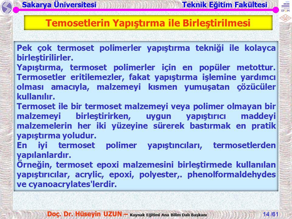 Sakarya Üniversitesi Teknik Eğitim Fakültesi /61 Doç. Dr. Hüseyin UZUN – Kaynak Eğitimi Ana Bilim Dalı Başkanı 14 Temosetlerin Yapıştırma ile Birleşti