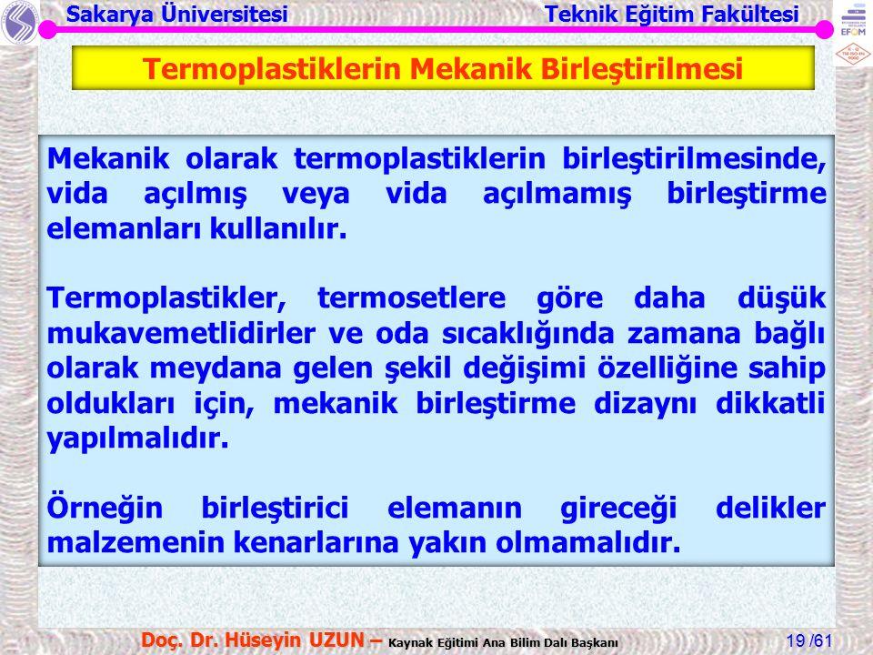 Sakarya Üniversitesi Teknik Eğitim Fakültesi /61 Doç. Dr. Hüseyin UZUN – Kaynak Eğitimi Ana Bilim Dalı Başkanı 19 Termoplastiklerin Mekanik Birleştiri