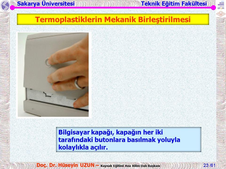 Sakarya Üniversitesi Teknik Eğitim Fakültesi /61 Doç. Dr. Hüseyin UZUN – Kaynak Eğitimi Ana Bilim Dalı Başkanı 23 Bilgisayar kapağı, kapağın her iki t