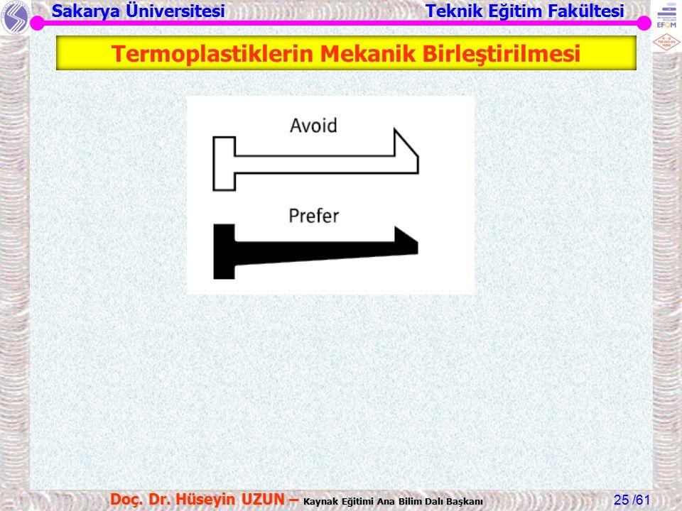 Sakarya Üniversitesi Teknik Eğitim Fakültesi /61 Doç. Dr. Hüseyin UZUN – Kaynak Eğitimi Ana Bilim Dalı Başkanı 25 Termoplastiklerin Mekanik Birleştiri