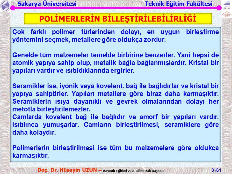 Sakarya Üniversitesi Teknik Eğitim Fakültesi /61 Doç. Dr. Hüseyin UZUN – Kaynak Eğitimi Ana Bilim Dalı Başkanı 3 Çok farklı polimer türlerinden dolayı