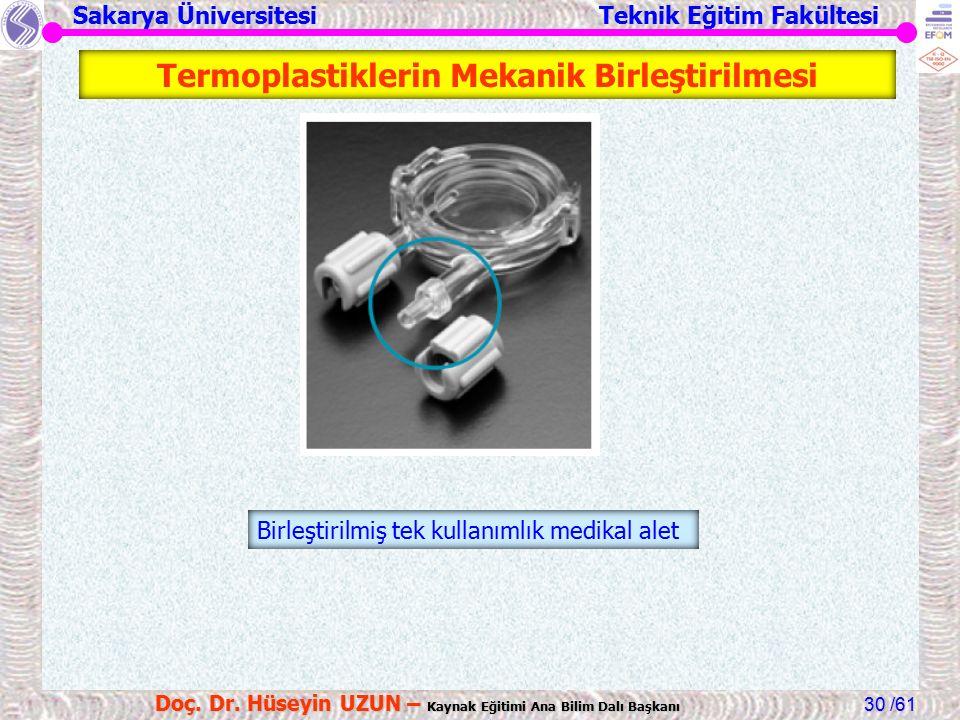Sakarya Üniversitesi Teknik Eğitim Fakültesi /61 Doç. Dr. Hüseyin UZUN – Kaynak Eğitimi Ana Bilim Dalı Başkanı 30 Birleştirilmiş tek kullanımlık medik
