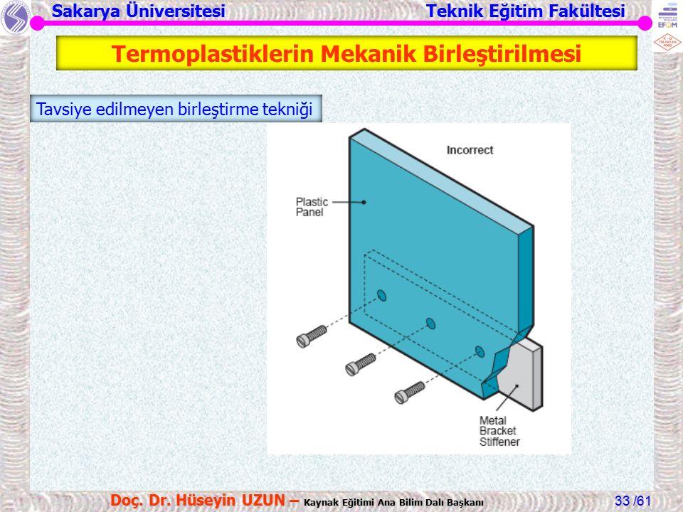 Sakarya Üniversitesi Teknik Eğitim Fakültesi /61 Doç. Dr. Hüseyin UZUN – Kaynak Eğitimi Ana Bilim Dalı Başkanı 33 Tavsiye edilmeyen birleştirme tekniğ