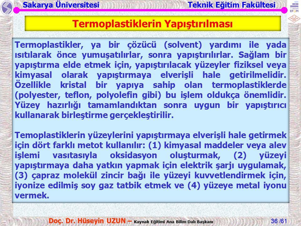 Sakarya Üniversitesi Teknik Eğitim Fakültesi /61 Doç. Dr. Hüseyin UZUN – Kaynak Eğitimi Ana Bilim Dalı Başkanı 36 Termoplastiklerin Yapıştırılması Ter