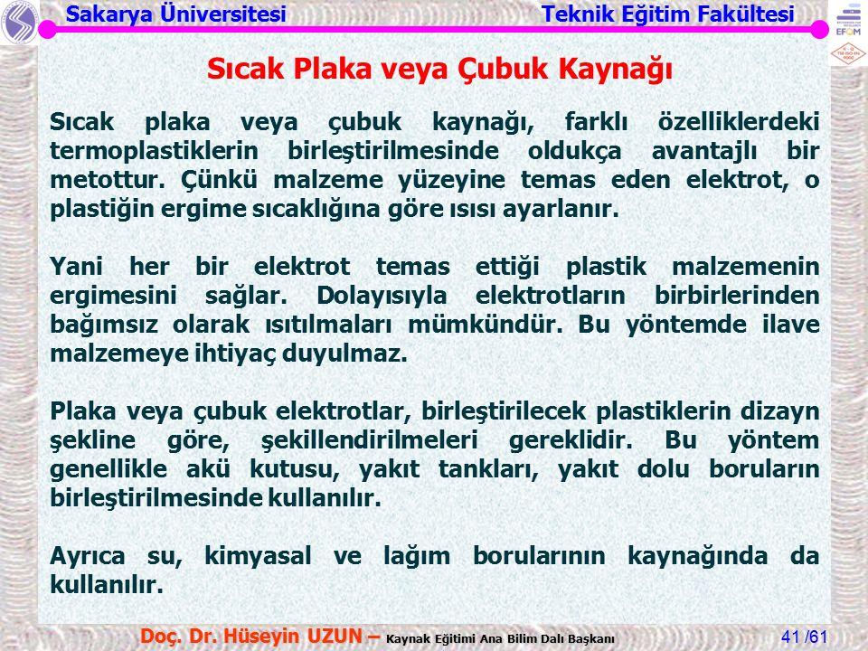 Sakarya Üniversitesi Teknik Eğitim Fakültesi /61 Doç. Dr. Hüseyin UZUN – Kaynak Eğitimi Ana Bilim Dalı Başkanı 41 Sıcak Plaka veya Çubuk Kaynağı Sıcak