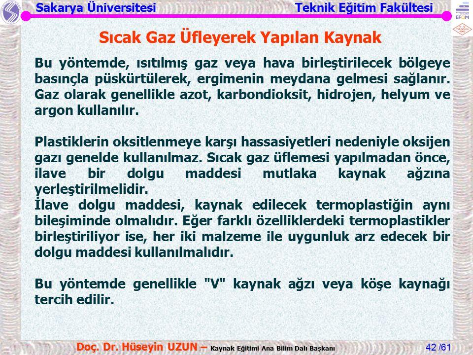 Sakarya Üniversitesi Teknik Eğitim Fakültesi /61 Doç. Dr. Hüseyin UZUN – Kaynak Eğitimi Ana Bilim Dalı Başkanı 42 Sıcak Gaz Üfleyerek Yapılan Kaynak B