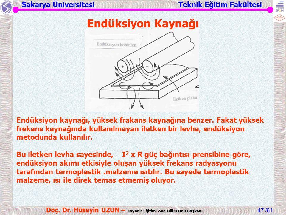 Sakarya Üniversitesi Teknik Eğitim Fakültesi /61 Doç. Dr. Hüseyin UZUN – Kaynak Eğitimi Ana Bilim Dalı Başkanı 47 Endüksiyon Kaynağı Endüksiyon kaynağ