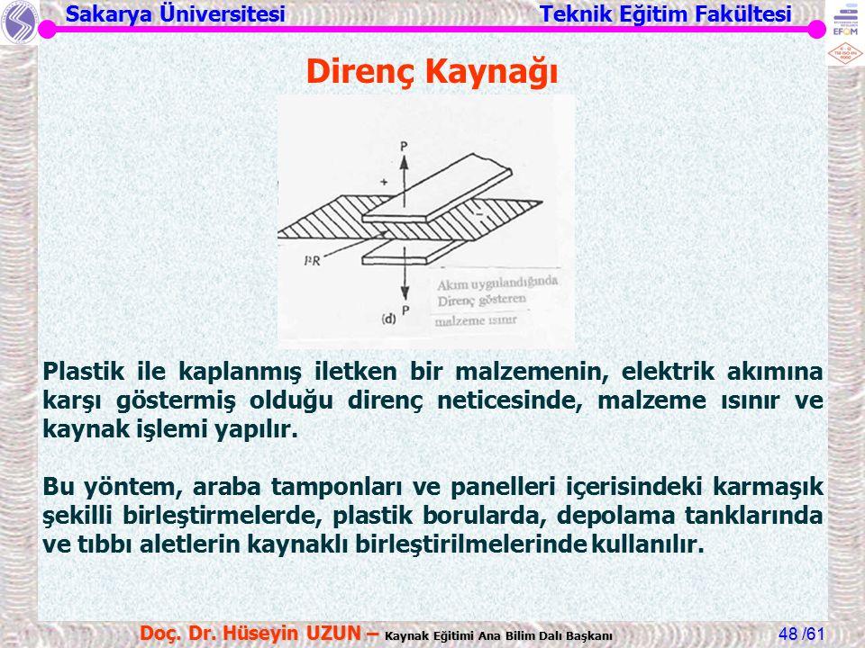 Sakarya Üniversitesi Teknik Eğitim Fakültesi /61 Doç. Dr. Hüseyin UZUN – Kaynak Eğitimi Ana Bilim Dalı Başkanı 48 Direnç Kaynağı Plastik ile kaplanmış