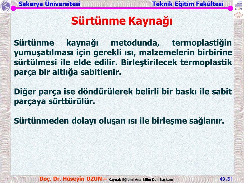 Sakarya Üniversitesi Teknik Eğitim Fakültesi /61 Doç. Dr. Hüseyin UZUN – Kaynak Eğitimi Ana Bilim Dalı Başkanı 49 Sürtünme Kaynağı Sürtünme kaynağı me