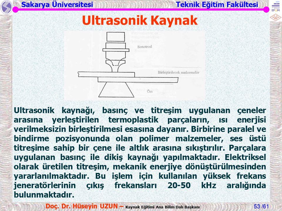 Sakarya Üniversitesi Teknik Eğitim Fakültesi /61 Doç. Dr. Hüseyin UZUN – Kaynak Eğitimi Ana Bilim Dalı Başkanı 53 Ultrasonik Kaynak Ultrasonik kaynağı