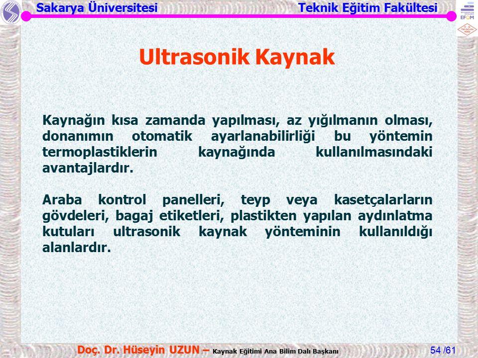 Sakarya Üniversitesi Teknik Eğitim Fakültesi /61 Doç. Dr. Hüseyin UZUN – Kaynak Eğitimi Ana Bilim Dalı Başkanı 54 Ultrasonik Kaynak Kaynağın kısa zama