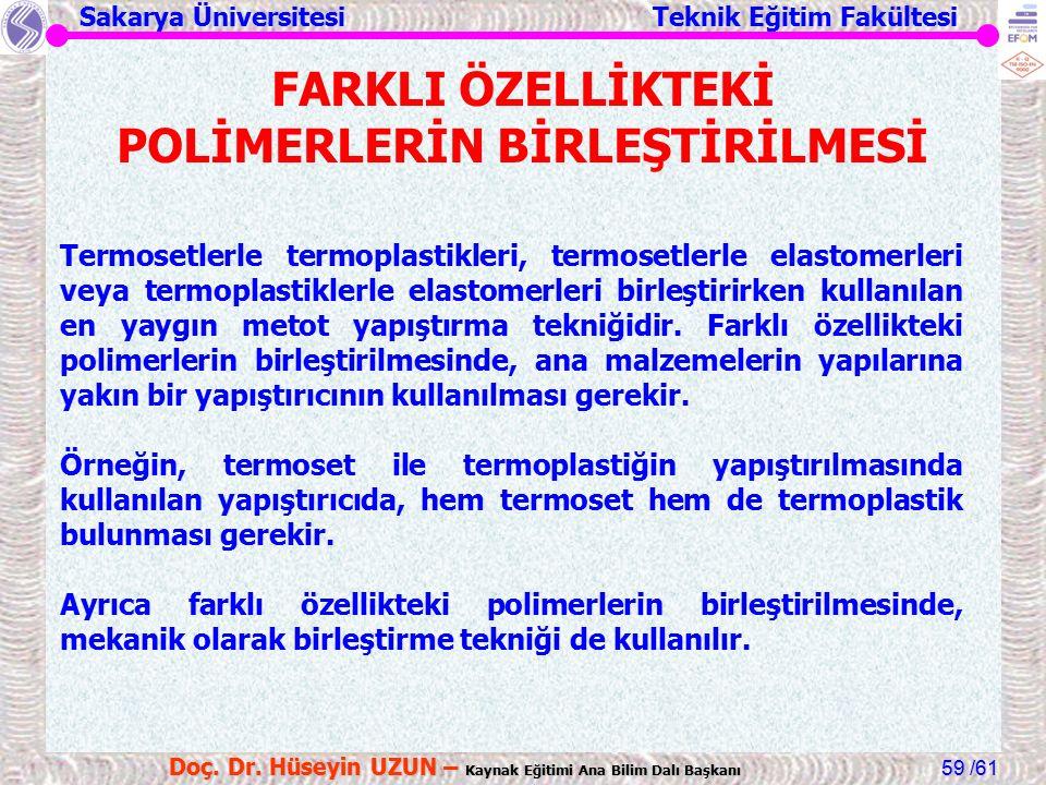 Sakarya Üniversitesi Teknik Eğitim Fakültesi /61 Doç. Dr. Hüseyin UZUN – Kaynak Eğitimi Ana Bilim Dalı Başkanı 59 FARKLI ÖZELLİKTEKİ POLİMERLERİN BİRL