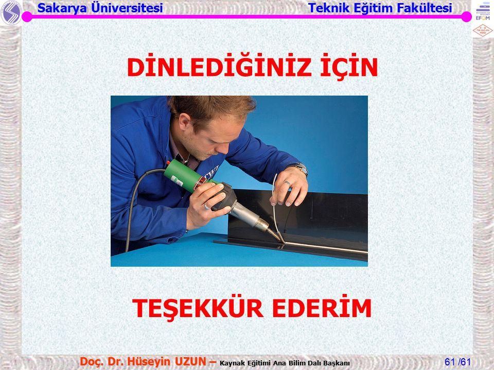 Sakarya Üniversitesi Teknik Eğitim Fakültesi /61 Doç. Dr. Hüseyin UZUN – Kaynak Eğitimi Ana Bilim Dalı Başkanı 61 DİNLEDİĞİNİZ İÇİN TEŞEKKÜR EDERİM