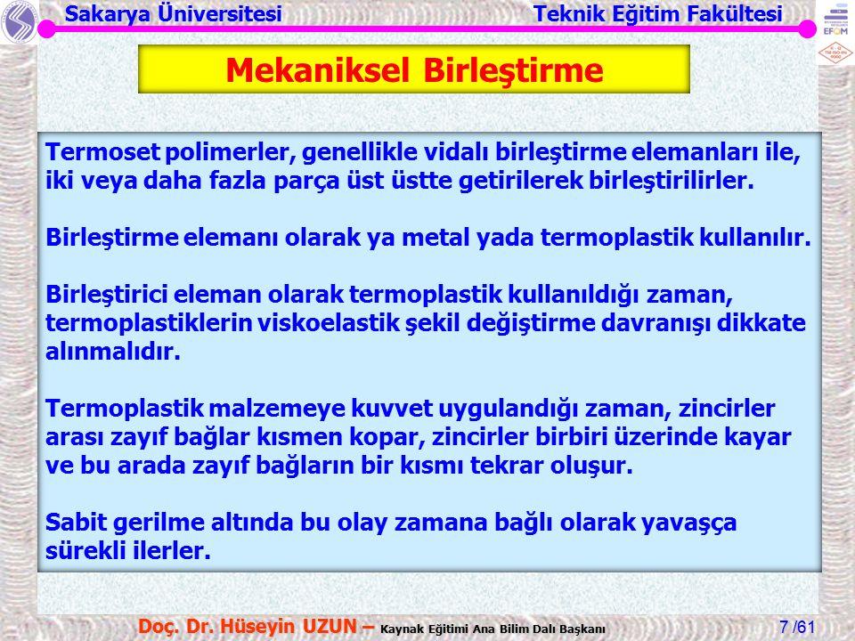 Sakarya Üniversitesi Teknik Eğitim Fakültesi /61 Doç. Dr. Hüseyin UZUN – Kaynak Eğitimi Ana Bilim Dalı Başkanı 7 Mekaniksel Birleştirme Termoset polim
