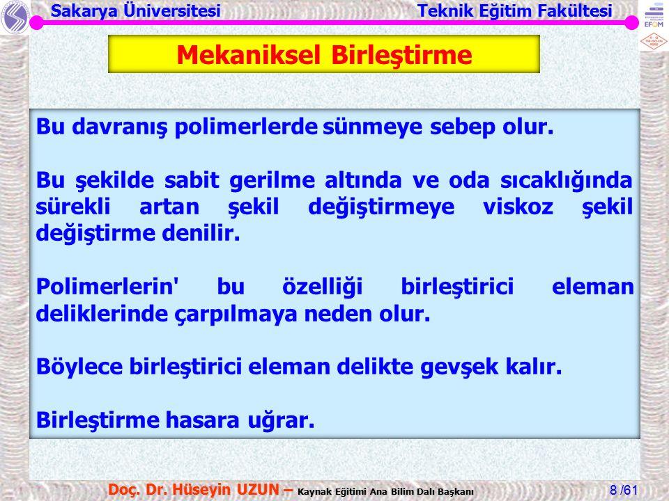 Sakarya Üniversitesi Teknik Eğitim Fakültesi /61 Doç. Dr. Hüseyin UZUN – Kaynak Eğitimi Ana Bilim Dalı Başkanı 8 Bu davranış polimerlerde sünmeye sebe