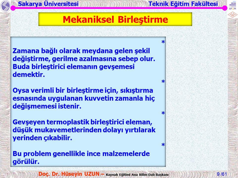 Sakarya Üniversitesi Teknik Eğitim Fakültesi /61 Doç. Dr. Hüseyin UZUN – Kaynak Eğitimi Ana Bilim Dalı Başkanı 9 * Zamana bağlı olarak meydana gelen ş