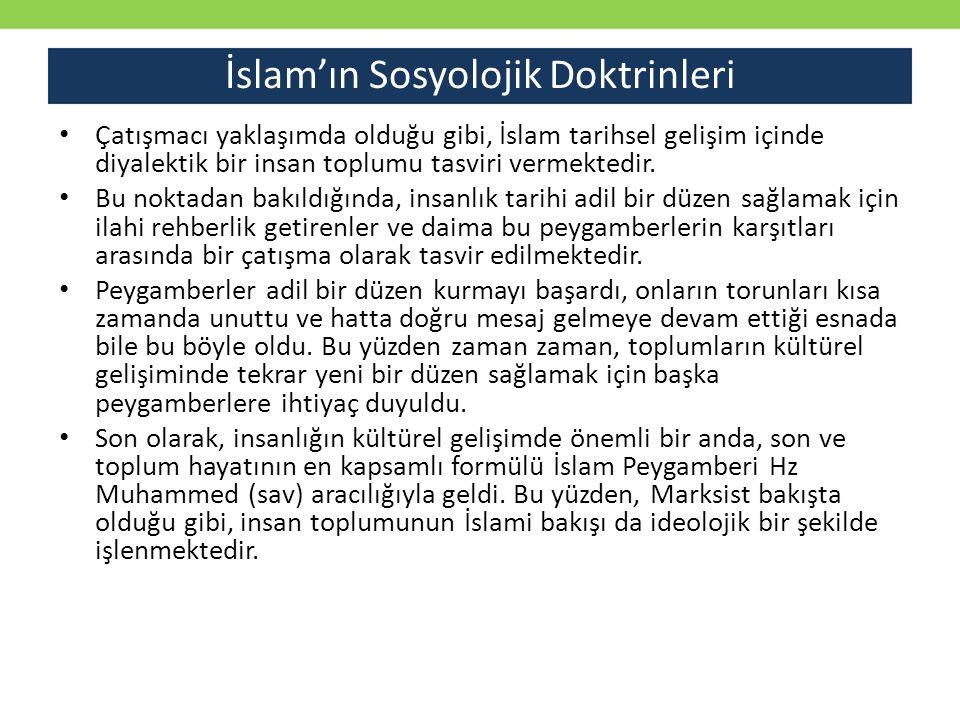 İslam'ın Sosyolojik Doktrinleri Çatışmacı yaklaşımda olduğu gibi, İslam tarihsel gelişim içinde diyalektik bir insan toplumu tasviri vermektedir. Bu n
