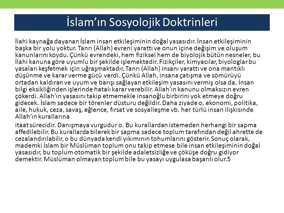 İlahi kaynağa dayanan İslam insan etkileşiminin doğal yasasıdır. İnsan etkileşiminin başka bir yolu yoktur. Tanrı (Allah) evreni yarattı ve onun içine