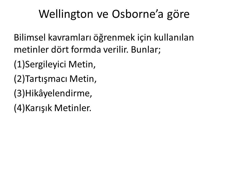Wellington ve Osborne'a göre Bilimsel kavramları öğrenmek için kullanılan metinler dört formda verilir. Bunlar; (1)Sergileyici Metin, (2)Tartışmacı Me