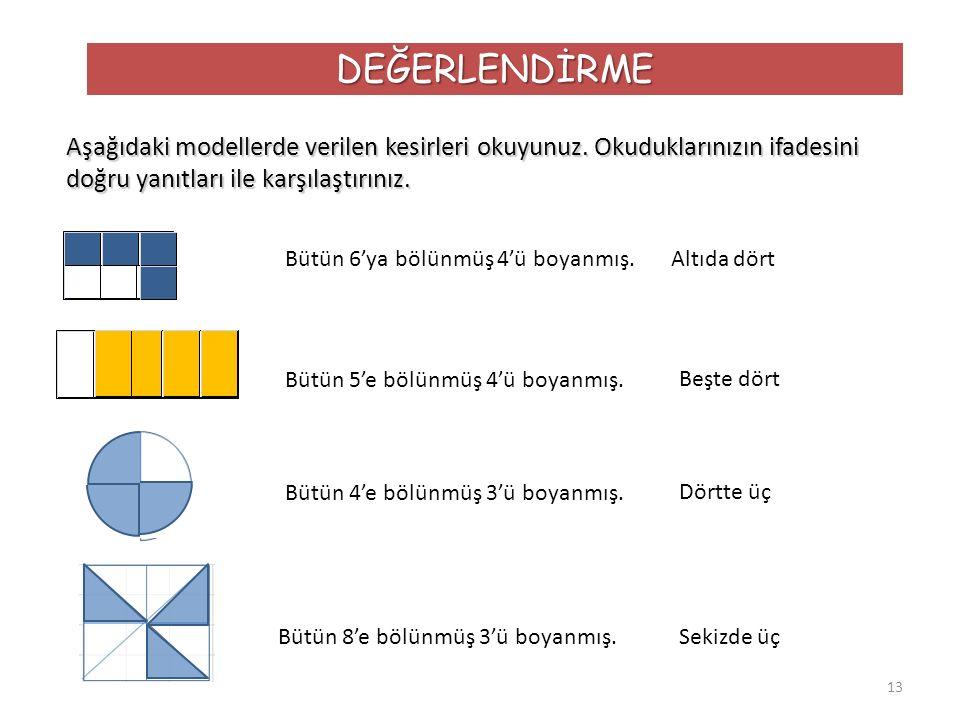 13 DEĞERLENDİRME Aşağıdaki modellerde verilen kesirleri okuyunuz. Okuduklarınızın ifadesini doğru yanıtları ile karşılaştırınız. Bütün 6'ya bölünmüş 4