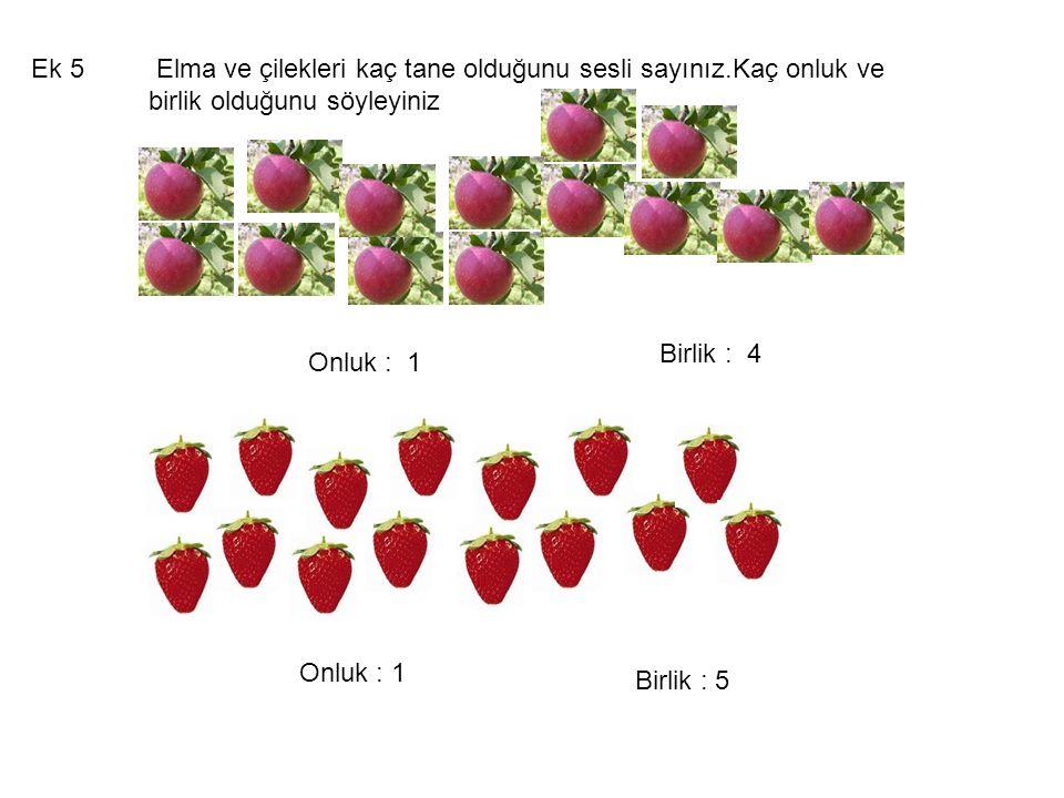Elma ve çilekleri kaç tane olduğunu sesli sayınız.Kaç onluk ve birlik olduğunu söyleyiniz Ek 5 Onluk : 1 Birlik : 4 Onluk : 1 Birlik : 5