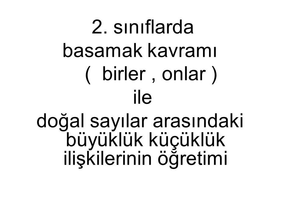2. sınıflarda basamak kavramı ( birler, onlar ) ile doğal sayılar arasındaki büyüklük küçüklük ilişkilerinin öğretimi