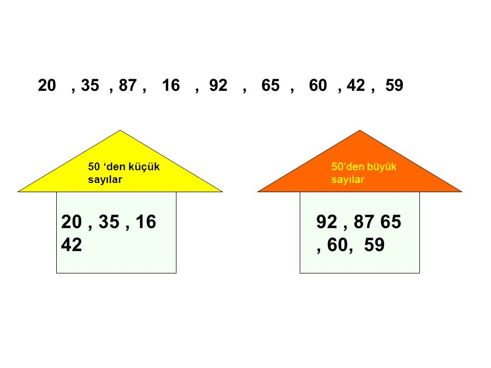 20, 35, 87, 16, 92, 65, 60, 42, 59 50 'den küçük sayılar 20, 35, 16 42 50'den büyük sayılar 92, 87 65, 60, 59
