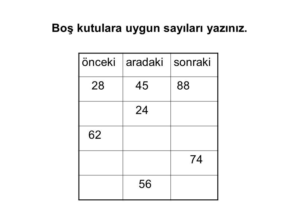 Boş kutulara uygun sayıları yazınız. öncekiaradakisonraki 28 45 88 24 62 74 56