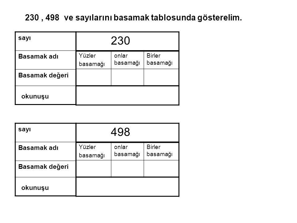 Yüzler basamağı onlar basamağı Birler basamağı 230, 498 ve sayılarını basamak tablosunda gösterelim.