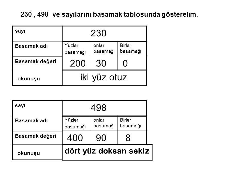 Yüzler basamağı onlar basamağı Birler basamağı 200 30 0 230, 498 ve sayılarını basamak tablosunda gösterelim.
