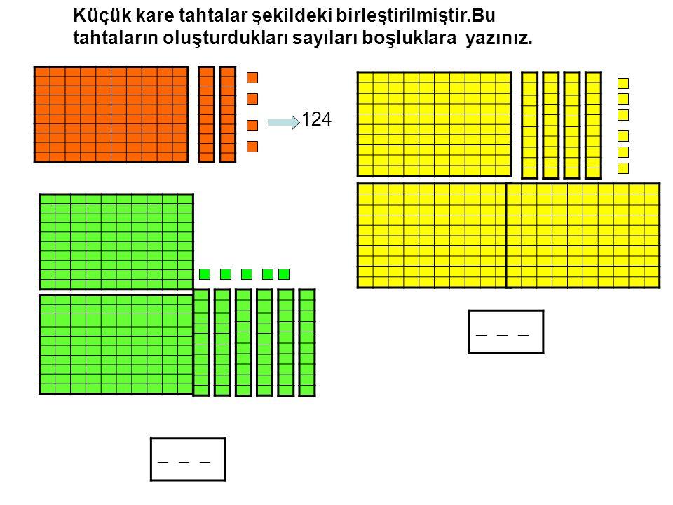 124 _ _ _ Küçük kare tahtalar şekildeki birleştirilmiştir.Bu tahtaların oluşturdukları sayıları boşluklara yazınız.