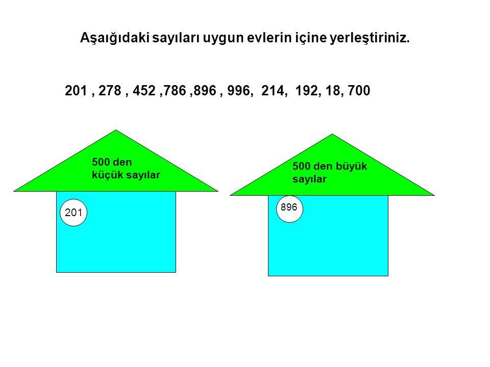 Aşaığıdaki sayıları uygun evlerin içine yerleştiriniz.
