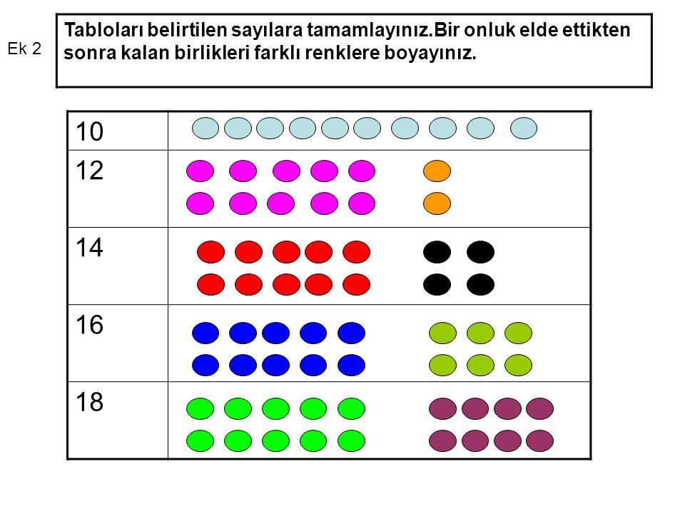 Tabloları belirtilen sayılara tamamlayınız.Bir onluk elde ettikten sonra kalan birlikleri farklı renklere boyayınız.
