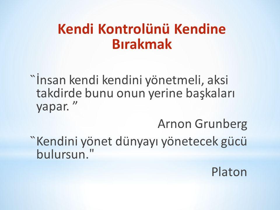 Kendi Kontrolünü Kendine Bırakmak ̏İnsan kendi kendini yönetmeli, aksi takdirde bunu onun yerine başkaları yapar. ˮ Arnon Grunberg ̏Kendini yönet düny