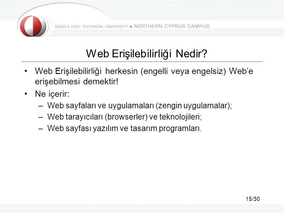 15/30 Web Erişilebilirliği Nedir? Web Erişilebilirliği herkesin (engelli veya engelsiz) Web'e erişebilmesi demektir! Ne içerir: –Web sayfaları ve uygu