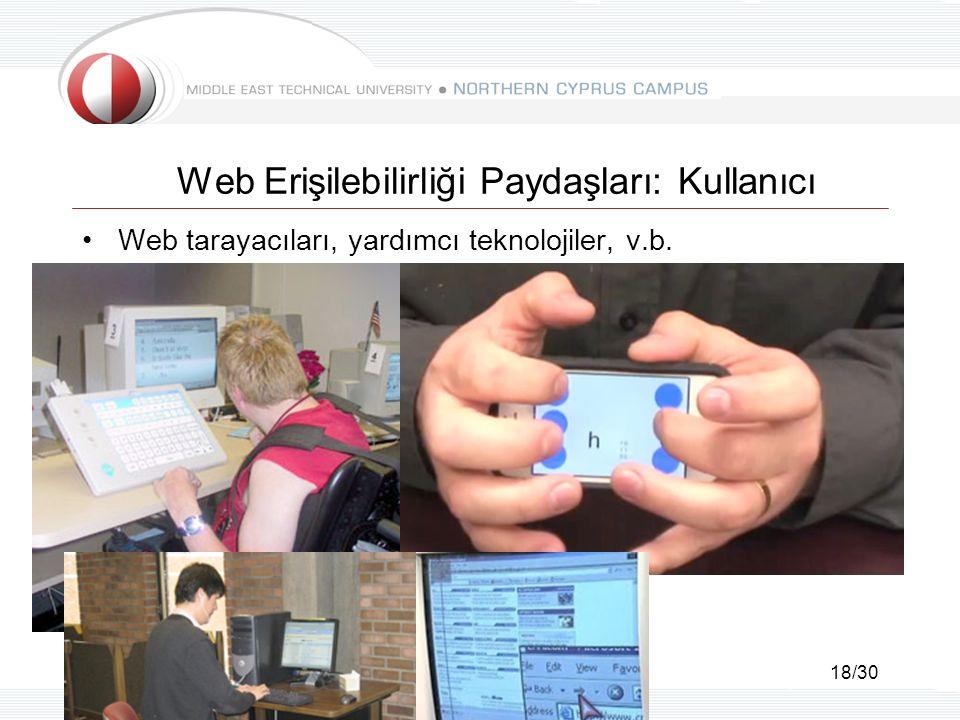 18/30 Web Erişilebilirliği Paydaşları: Kullanıcı Web tarayacıları, yardımcı teknolojiler, v.b.