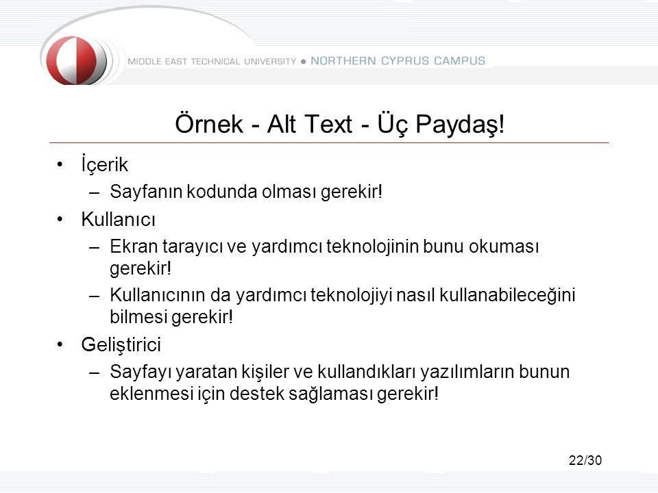 22/30 Örnek - Alt Text - Üç Paydaş! İçerik –Sayfanın kodunda olması gerekir! Kullanıcı –Ekran tarayıcı ve yardımcı teknolojinin bunu okuması gerekir!