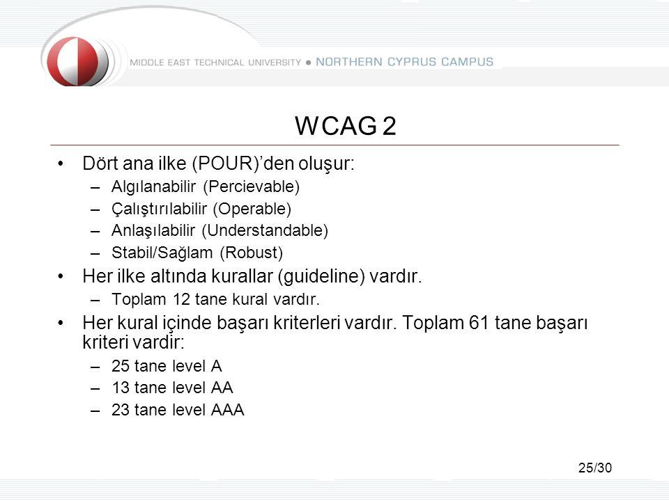 25/30 WCAG 2 Dört ana ilke (POUR)'den oluşur: –Algılanabilir (Percievable) –Çalıştırılabilir (Operable) –Anlaşılabilir (Understandable) –Stabil/Sağlam (Robust) Her ilke altında kurallar (guideline) vardır.