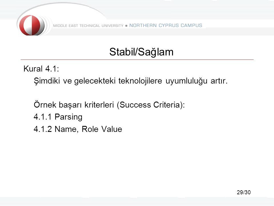 29/30 Stabil/Sağlam Kural 4.1: Şimdiki ve gelecekteki teknolojilere uyumluluğu artır.