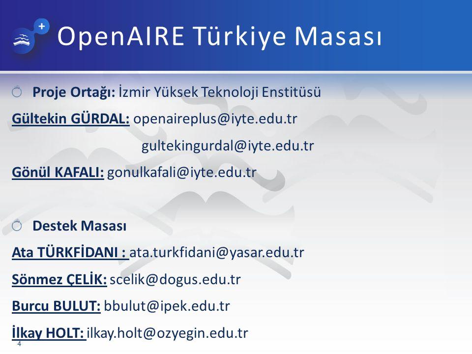 OpenAIRE Türkiye Masası Proje Ortağı: İzmir Yüksek Teknoloji Enstitüsü Gültekin GÜRDAL: openaireplus@iyte.edu.tr gultekingurdal@iyte.edu.tr Gönül KAFALI: gonulkafali@iyte.edu.tr Destek Masası Ata TÜRKFİDANI : ata.turkfidani@yasar.edu.tr Sönmez ÇELİK: scelik@dogus.edu.tr Burcu BULUT: bbulut@ipek.edu.tr İlkay HOLT: ilkay.holt@ozyegin.edu.tr 4
