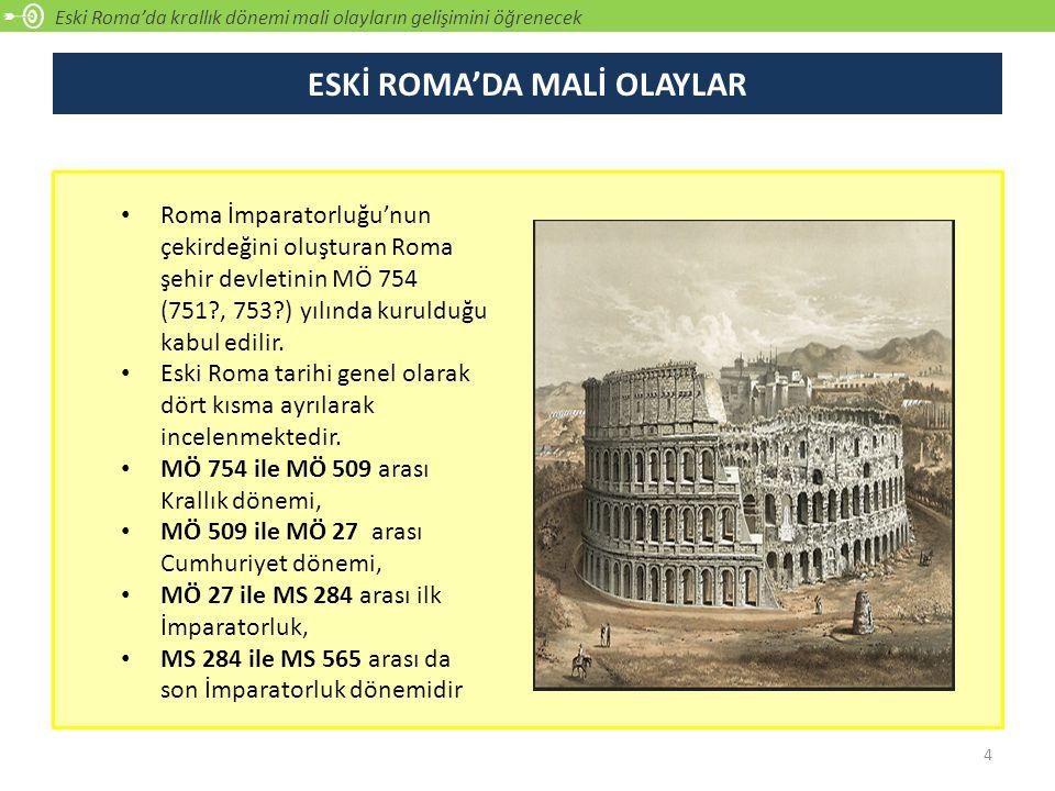 Eski Roma'da krallık dönemi mali olayların gelişimini öğrenecek, ROMA'DA KRALLIK DÖNEMİ MALİ OLAYLAR Roma'nın ilk zamanlarda bir şehir devleti olarak kurulduğu belirtilmektedir.