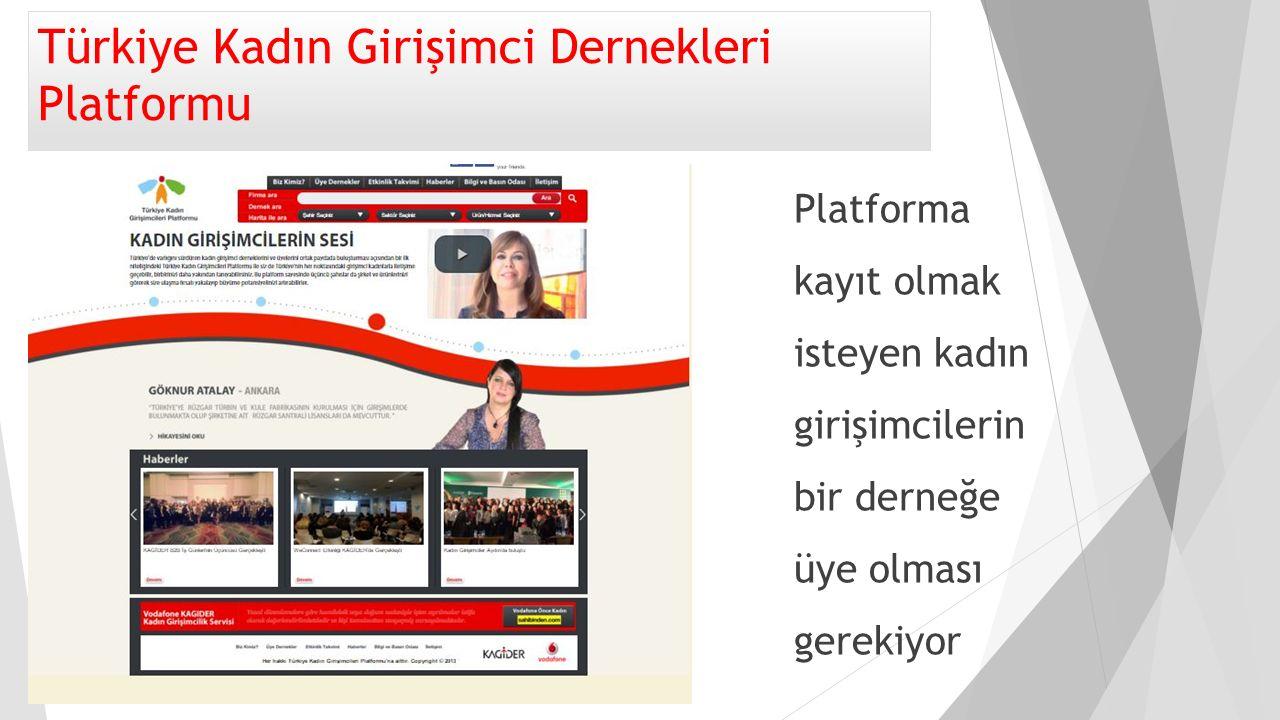 Türkiye Kadın Girişimci Dernekleri Platformu Platforma kayıt olmak isteyen kadın girişimcilerin bir derneğe üye olması gerekiyor