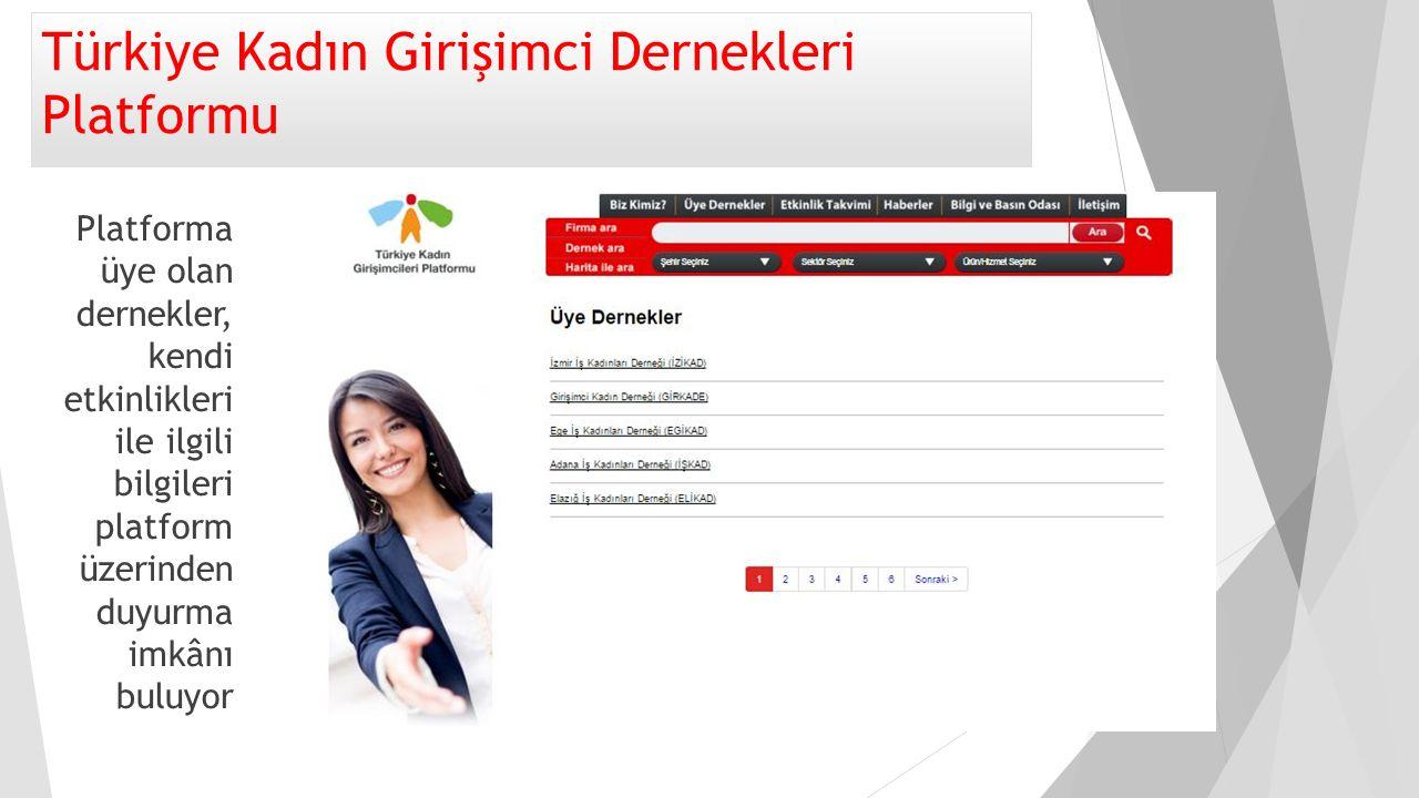 Türkiye Kadın Girişimci Dernekleri Platformu Platforma üye olan dernekler, kendi etkinlikleri ile ilgili bilgileri platform üzerinden duyurma imkânı b