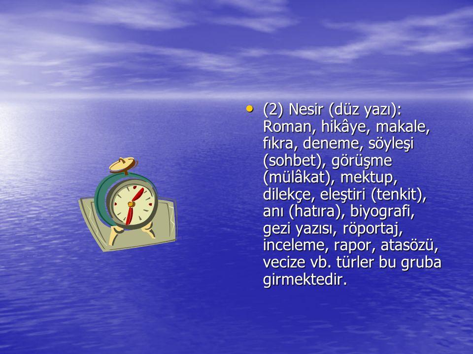 (2) Nesir (düz yazı): Roman, hikâye, makale, fıkra, deneme, söyleşi (sohbet), görüşme (mülâkat), mektup, dilekçe, eleştiri (tenkit), anı (hatıra), biy