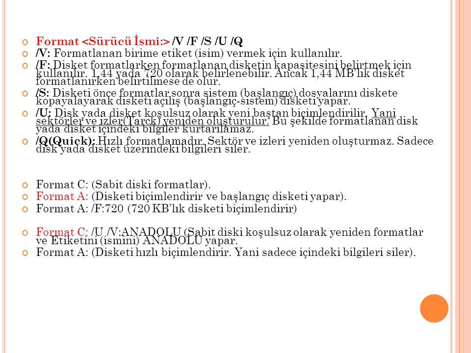 Format /V /F /S /U /Q /V: Formatlanan birime etiket (isim) vermek için kullanılır.