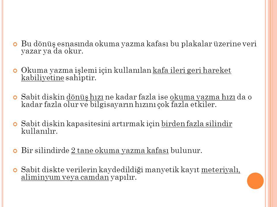 S ABIT DISK HıZıNı ÖLÇMEDE 2 UNSUR ÖNEMLIDIR.1.