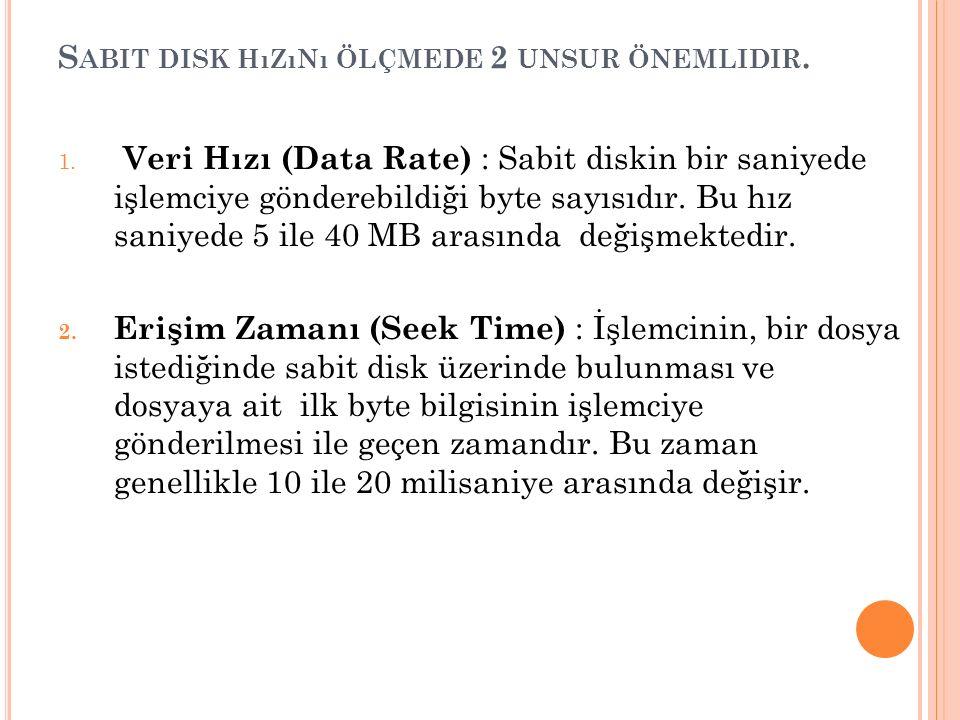 S ABIT DISK HıZıNı ÖLÇMEDE 2 UNSUR ÖNEMLIDIR. 1.