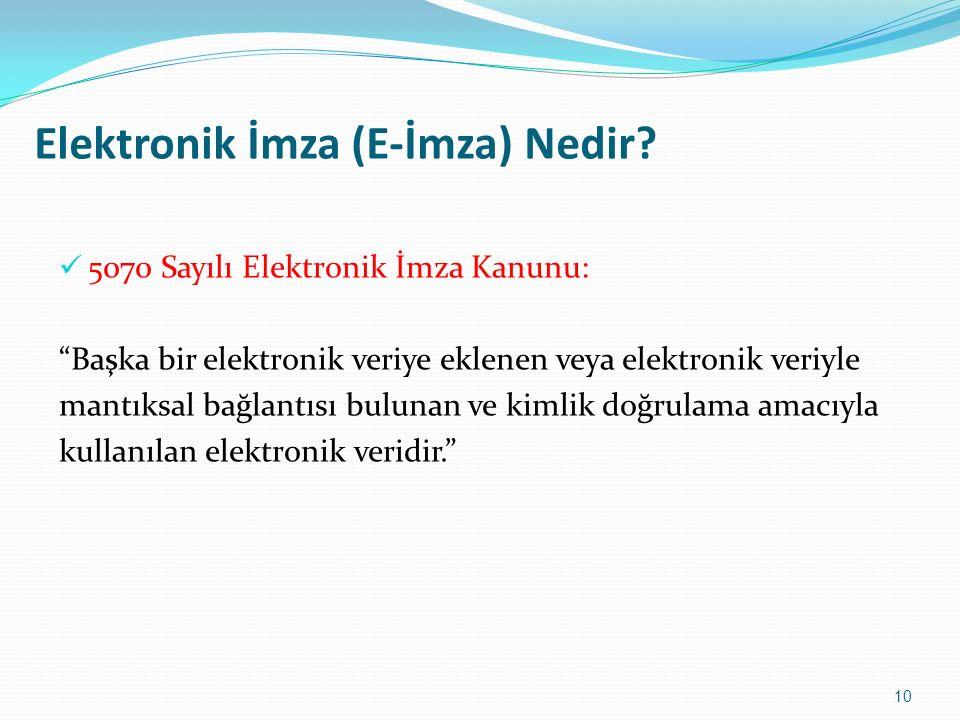 """Elektronik İmza (E-İmza) Nedir? 5070 Sayılı Elektronik İmza Kanunu: """"Başka bir elektronik veriye eklenen veya elektronik veriyle mantıksal bağlantısı"""