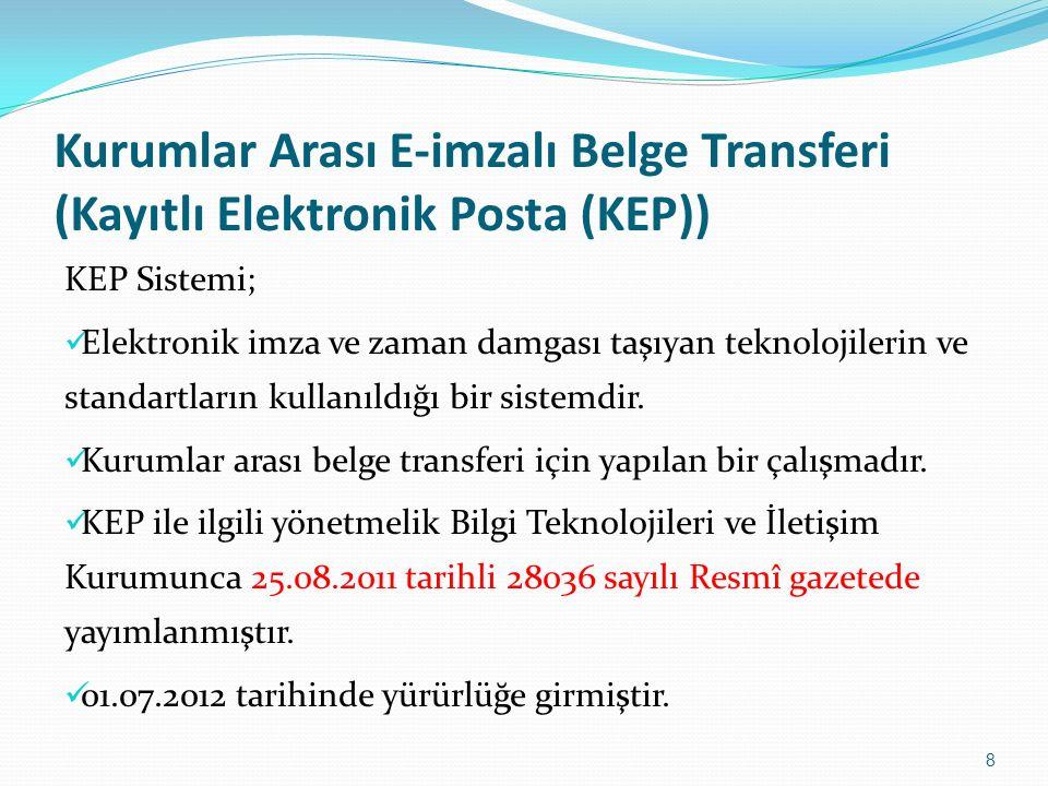 Kurumlar Arası E-imzalı Belge Transferi (Kayıtlı Elektronik Posta (KEP)) KEP Sistemi; Elektronik imza ve zaman damgası taşıyan teknolojilerin ve standartların kullanıldığı bir sistemdir.